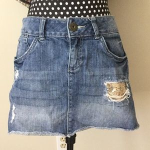Denim Miniskirt with Gold Sequin Distressed Hole